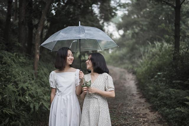 Girls, Weather, Happy, Raining, Cute