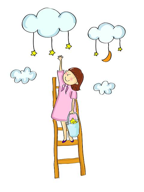 Good, Girls, Cloud, Star, Ladder, Cute Wallpaper