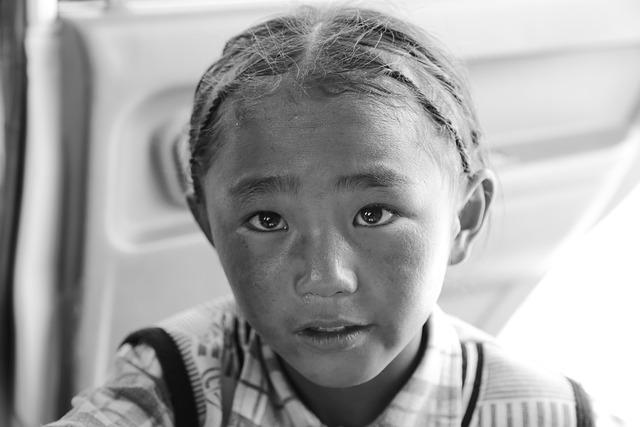 Tibetan, Woman, Child, Girls, Portrait, Black And White