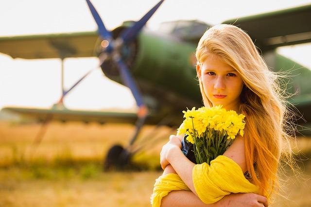 Aircraft, Girl, Glamour, Summer, Yellow, Flowers