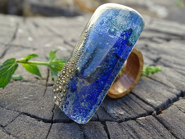 Glass And Wood Ring, Jewelry, Seascape