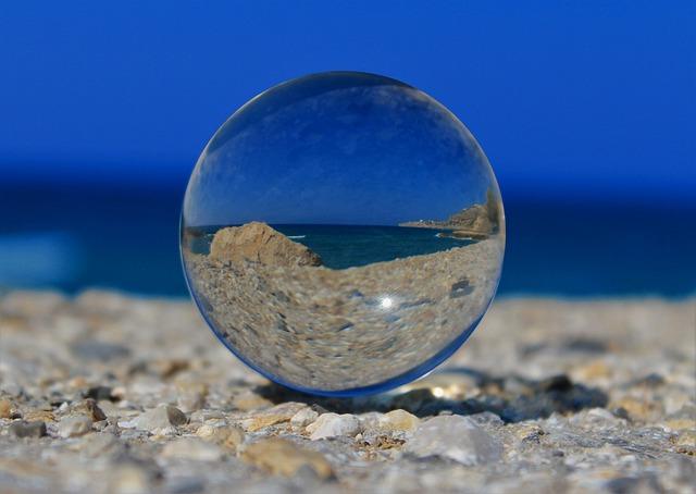 Glass Ball, Ball, Sea, Beach, Crystal Ball, Mirroring