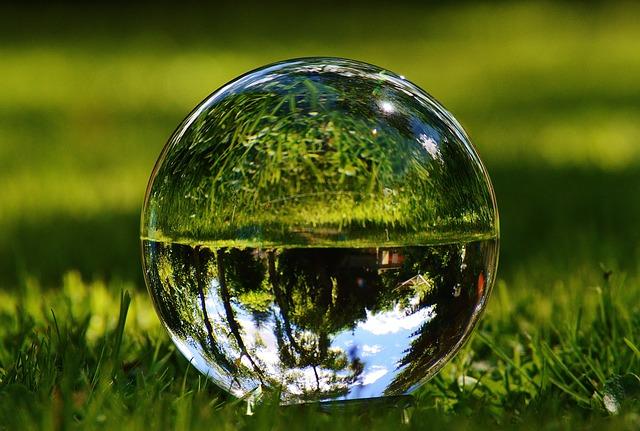 Glass Ball, Mirroring, Meadow, Garden, Grass