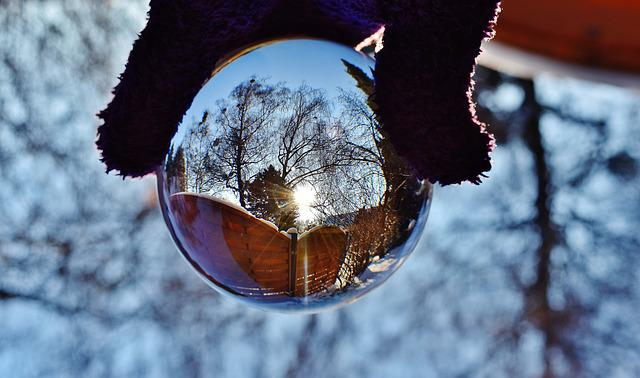 Glass Ball, Mirroring, Sun, Winter, Snow