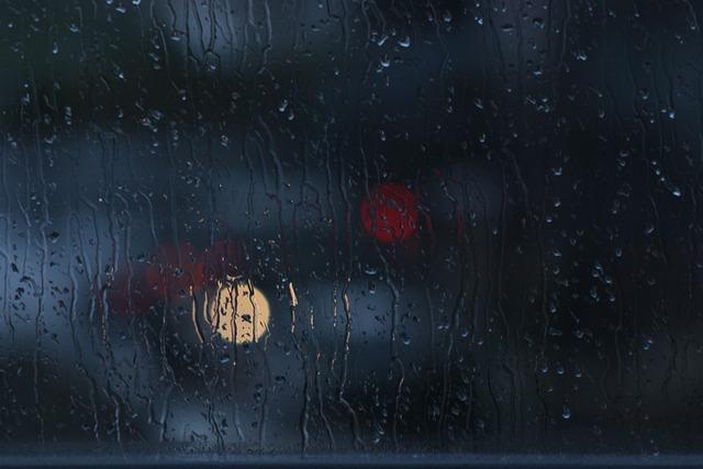 Rain, Window, Bokeh, Glass, Dark