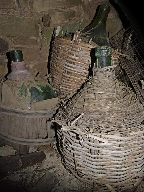 Carafes, Carboys, Bottles, Glass, Wicker, Old