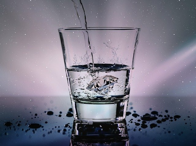 Water, Glass, Liquid, Wet, Refreshment, Diamond, Splash