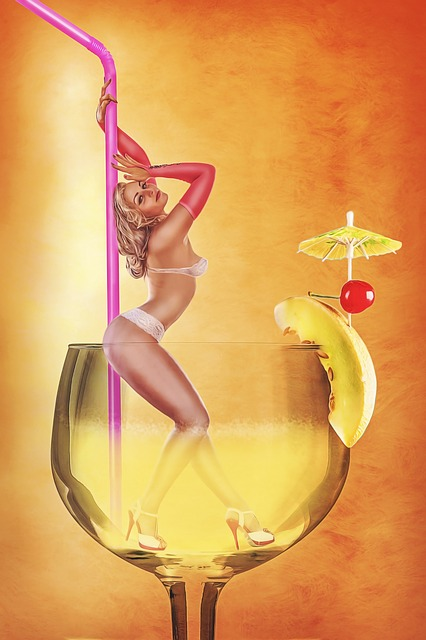 Girl, Straw, Glass, Cocktail, Erotica, Linen, Polidens