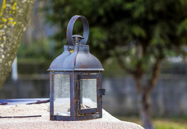 Candil, Light, Old, Garden, Lantern, Iron, Glass