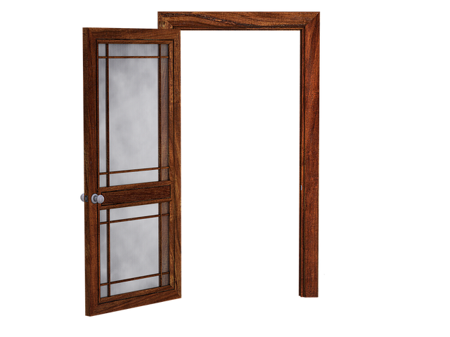 Door, Open Door, Wooden Door, Glass Panes, Translucent