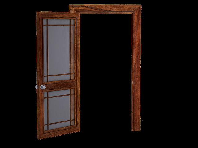 Door, Open Door, Wooden Door, Glass Panes, Translucent