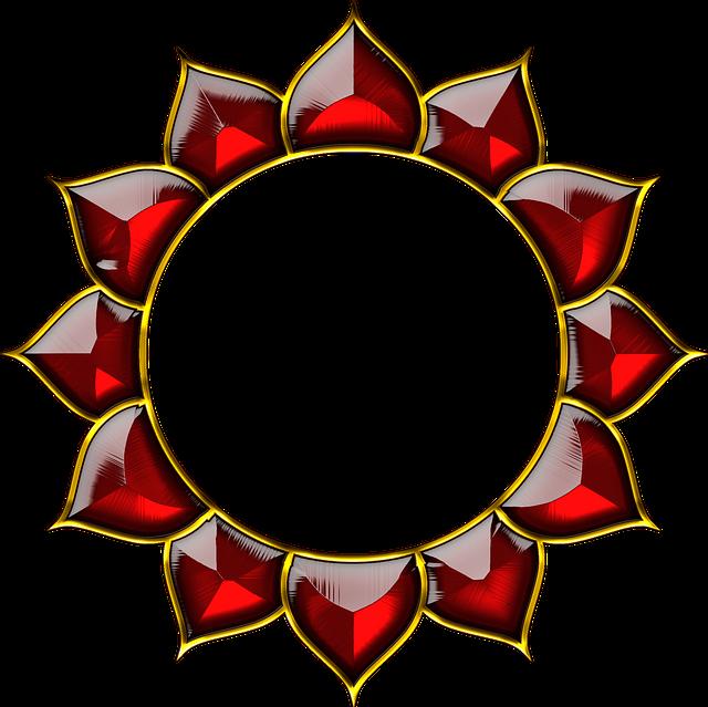 Chakra, Lotus, Yantra, Spiritual, Design, Red, Glass