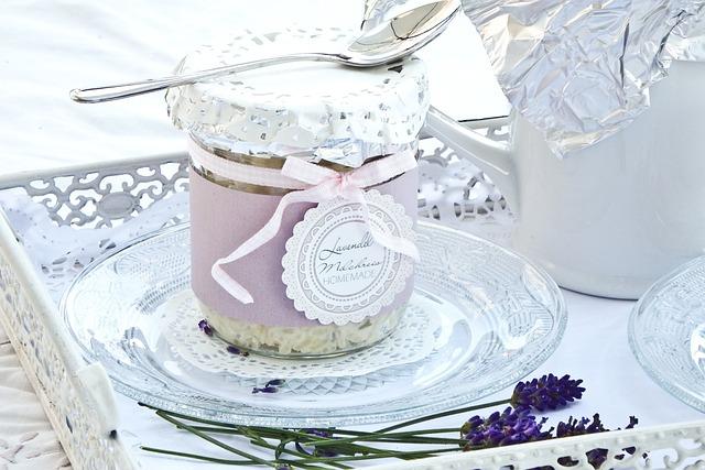 Dessert, Glass, Plate, Lavender, Idyll, Romantic