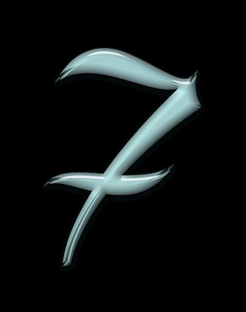 Numbers, Bevel, Aqua, Glass, Blue, 7, Seven