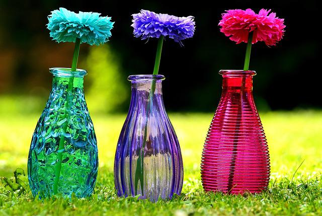 Vases, Glass, Colorful, Flowers, Decoration