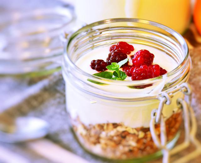 Muesli, Breakfast, Glass, Yogurt, Dessert, Berries