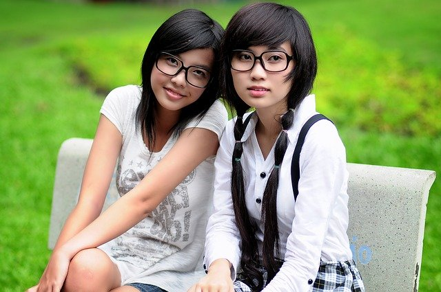Girl, Student, Asian, Glasses, Friends, Pretty, Happy