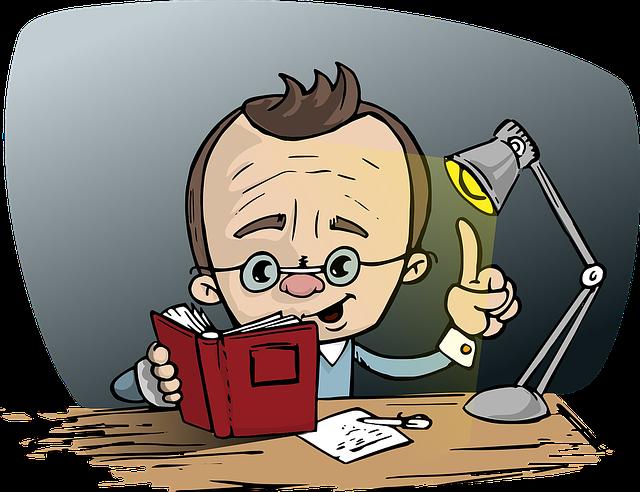 Man, Reading, Book, Glasses, Point, Idea, Light, Desk