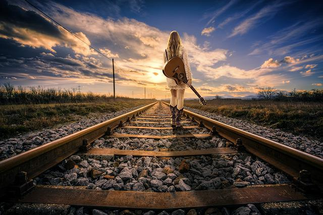 Railway Line, Railway, Rail, Girl, Woman, Gleise
