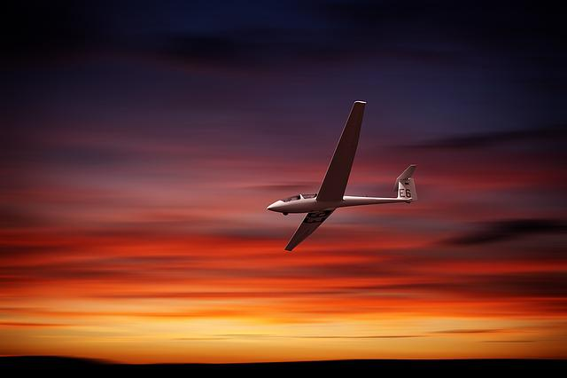 Glider, Afterglow, Sunset, Twilight, Mood