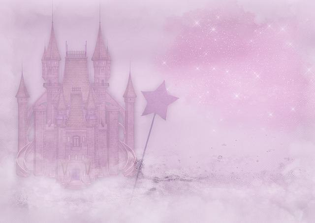 Fairy Castle, Wand, Font, Clouds, Glitter, Star, Pink