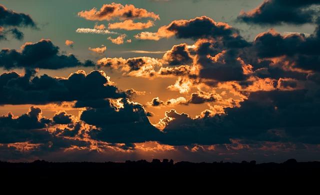 Sky, Gloomy, Landscape, Clouds, Sunset
