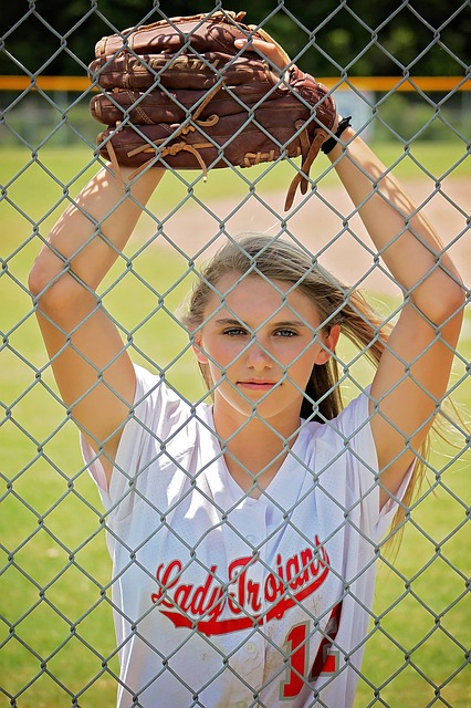 Girl, Young, Glove, Fence, Outdoors, Softball, Player
