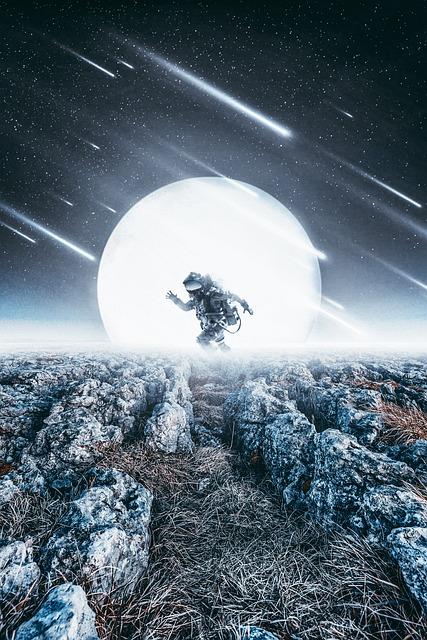 Fantasy, Photoshop, Moon, Cosmonaut, Glow, Stones