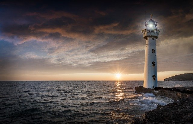 Lighthouse, Glow, Evening, Sunset, Ocean, Sea, Horizon