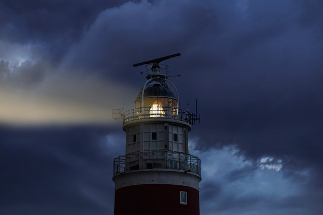 Lighthouse, Evening, Light, Sky, Clouds, Glow, Rays