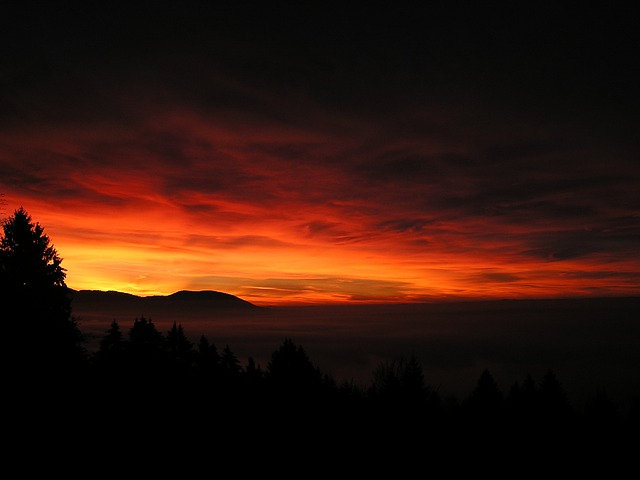 Sunrise, Sky, Glow, Red, Yellow, Natural Spectacle