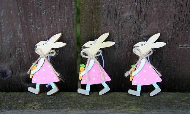 Bunnies, Three, Trio, Go, Figurines, Fun, Decoration