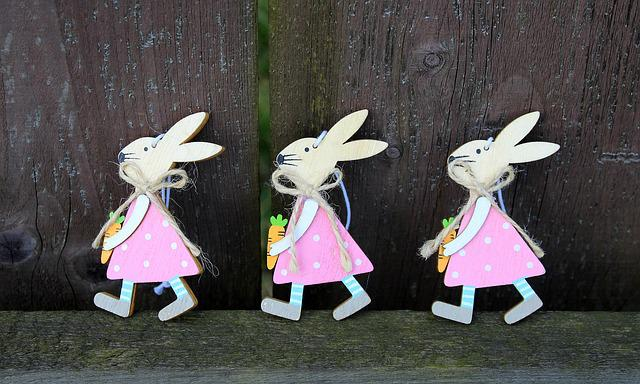 Bunnies, Three, Trio, Go, Figurines, Fun, Decoration