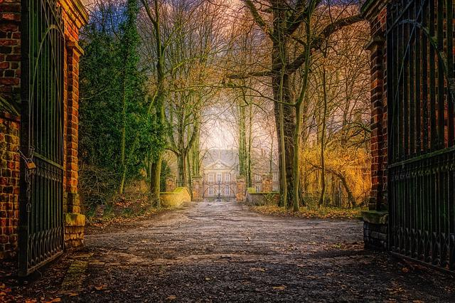 Goal, Gate, Castle, Villa, Park, Forest, Golden, Autumn