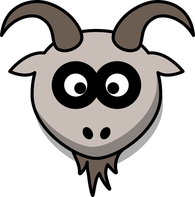 Goat, Head, Cartoon, Gray, Animal, Mountains
