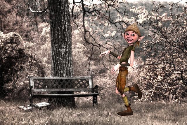 Goblin, Winters, Tree, Bench, Landscape, Field, Drills