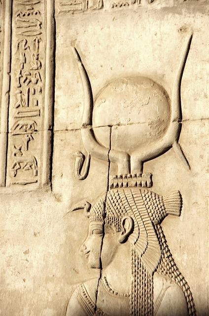 Egypt, Aswan, Philae, Temple, Goddess, Isis, Engraving