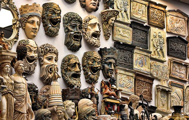 Greece, Souvenirs, Masks, Gods, Mythology, Greek