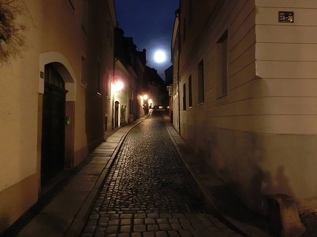 Alley, Moon, Old Town, Görlitz, Historically, Night