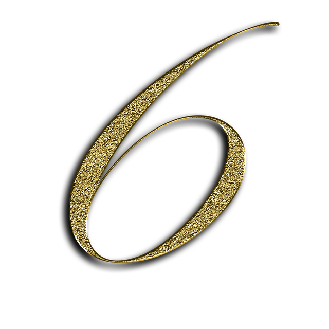 Number, 6, Gold, Font, Training, Six, Learn, Golden