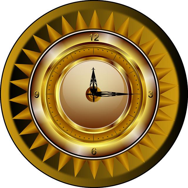 Clock, Gold, Watch, Time, Luxury, Analog, Ticker, Sun