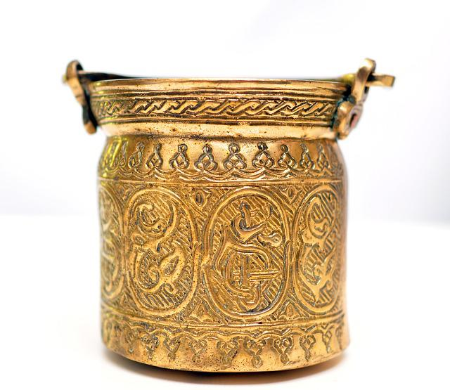 Container, Antique, Isolate, Old, Gold, Ancient