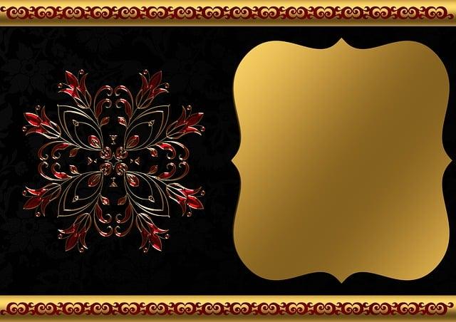 Free Photo Gold Frame Black Red Background Image Floral Max Pixel