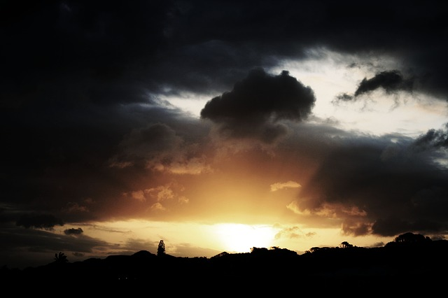 Sky, Sunset, Dramatic, Clouds, Dark, Black, Glow, Gold