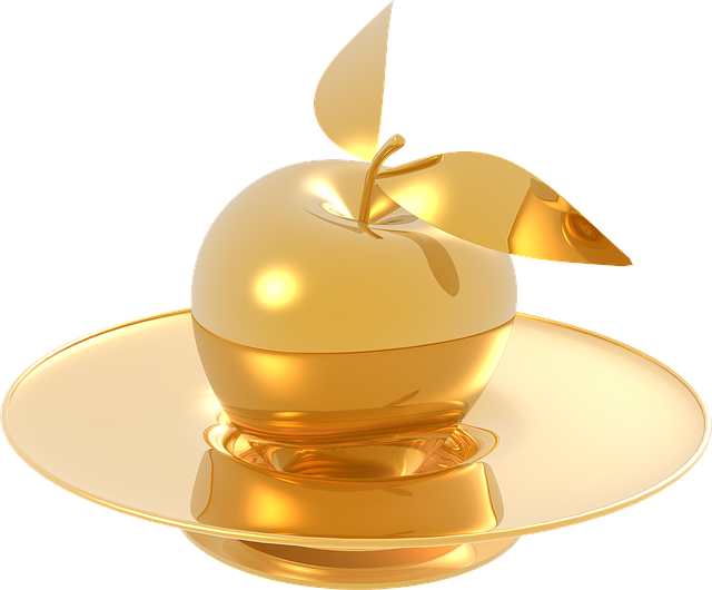 Apple, Gold, Metal, Glossy, The Elegance, Golden