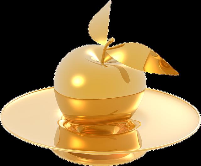 Apple, Gold, Metal, Glossy, The Elegance, Golden