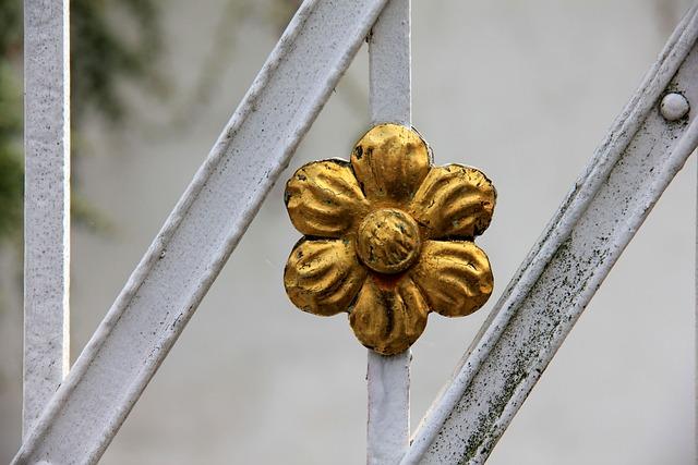 Flower, Gold, Metal