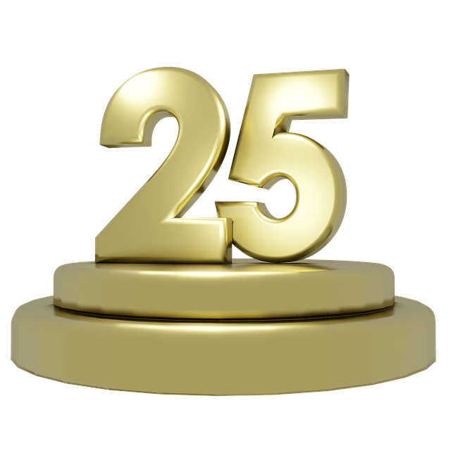 Gold, Gold Font, Podium, 25 Years