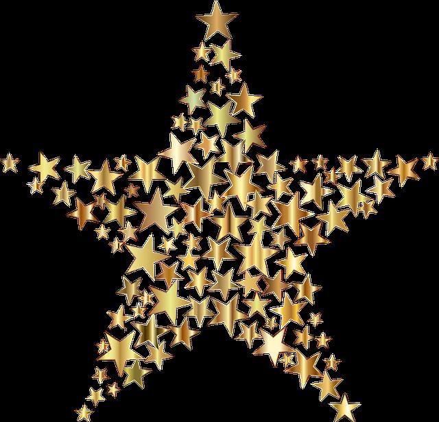 Star, Fractal, Gold, Shiny, Metallic, Abstract