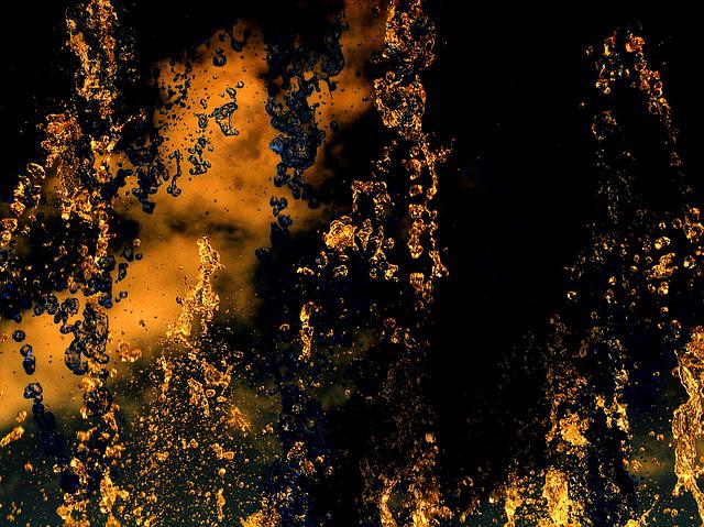 Water, Liquid, Flowing, Gold, Texture, A Dark Texture